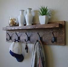 rustic rack pallet wood clothing hooks astonishing coat hanger with shelf entryway