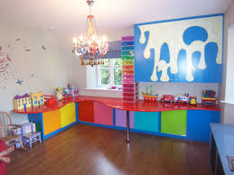 Bedroom:Cool Blue Kids Bedroom With Sky Pattern Ceiling Idea Creative  Colorful Toy Storage Solutions