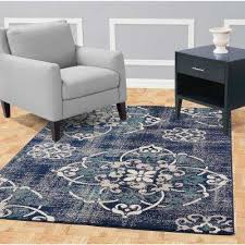 jasmin collection contemporary medallion design navy and ivory 5 ft x 7 ft area