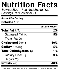 on gold standard 100 whey nutrition info