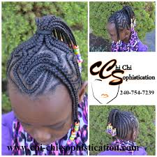 Chi Hair Style creative style cornrows for kids braided up into a ponytail 7347 by wearticles.com