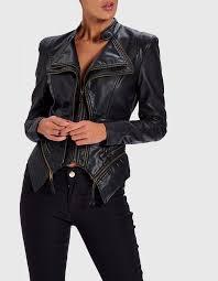 black structured pu biker jacket with gold zip detail