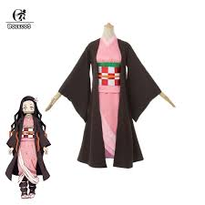 ROLECOS <b>Anime Costume Demon</b> Slayer <b>Cosplay</b> Nezuko Kimono ...