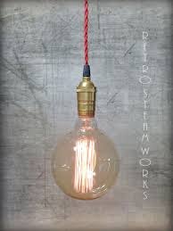 custom made bare edison bulb industrial loft pendant light plug in or hardwired