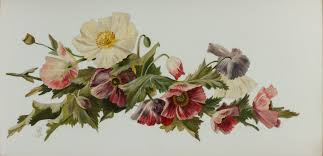 antique flower painting on glass