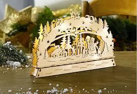 Led Holz Schwibbogen Lichterbogen Weihnachten Beleuchtung Fensterdeko Lampe Dynamic 24de