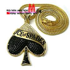 Buy 1 get any other free. China Iced Out Gold Black Ace Of Spades Pendant With Chain Fashion Jewelry Necklace Fop3191 China Alloy Pendant And Hiphop Necklace Price