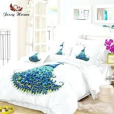 asda bird double duvet cover peacock bedding set queen size blue animal bed bedclothes us