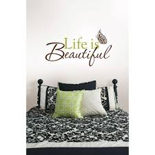 Life Quote Wall Stickers WallPOPs 100100 in x 100 in Life Is Beautiful Quote Wall DecalWPQ968100100 47