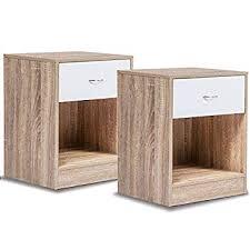 IDMarket - Lot de 2 Tables de Chevet Bois façon hêtre tiroir Blanc ...