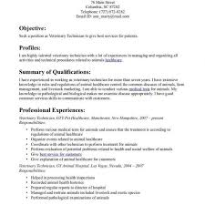 Technical Resume Objective Examples Veterinary Technician Resume Objective soaringeaglecasinous 70