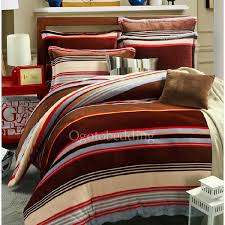 flannel winter brown stripe duvet cover king size