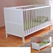 solid wood nursery furniture. FREE UK Delivery ✓ White Solid Wood Baby Cot Bed \u0026 Deluxe Foam Mattress Converts Into A Junior 3 Position Water Repellent Liner: Nursery Furniture