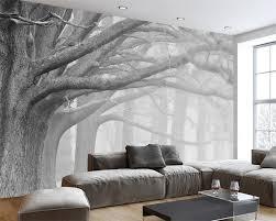 Bestellen Beibehang Moderne Zwart Wit Bos Boom Art Achtergrond Muur