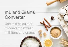 Ml To Grams Grams To Ml Conversion