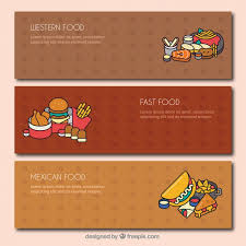 Types Of Meals Set Of Banners With Different Types Of Meals Vector Free Download