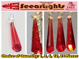 chandelier light cut glass crystals icicle red prisms droplets beads spare parts 1 of 10free