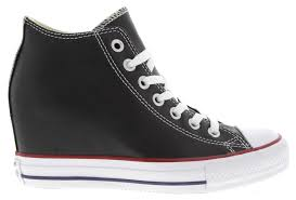 womens chuck taylor all star lux wedge sneakers in black leather