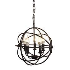 Us 6199 Schiff Von Uns Moderne Industrie Kronleuchter 5 Licht Metall Globus Kronleuchter Hängen Leuchte Orb Vintage Runde Ball Käfig Licht In