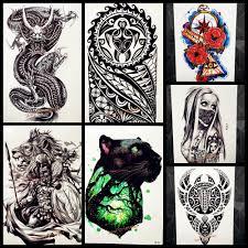 мода черный хна тотем временная татуировка для мужчин боди арт большой