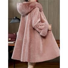 2019 hanzangl 2018 winter wool coat women s faux fur coat long sleeve fox fur hooded warm cashmere jacket overcoat plus size s 3xl from pingparty