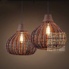 vintage rural led weave rattan bird nest light ceiling lamp droplight fixtures chandeliers bar home bedroom corridor loft decor