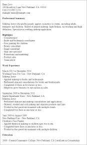 resume templates makeup artist