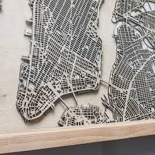 laser cut wood map wall art by citywood