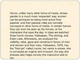 the representations of gender in horror films essay horror