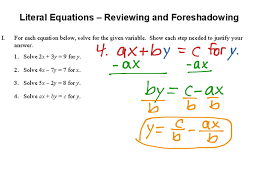 1 4 literal equations reviewing and foreshadowing math algebra showme