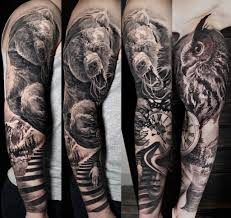 Black And Grey Tattoo Angry Bear Full Sleeve Alo Loco Tattoo Flickr
