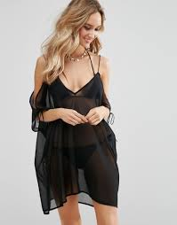 Lyst Asos Mini Chiffon Beach Caftan With Cold Shoulders In Black