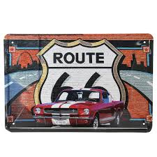 route 66 car tin sign vintage metal plaque poster bar home wall decor
