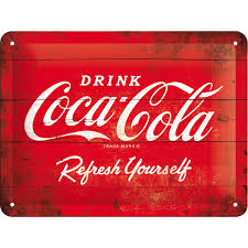 COCA COLA LOGO RED REFRESH YOURSELF Blechschild 15x20 kaufen