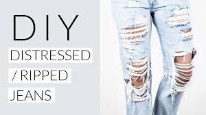 how to diy distressed ripped jeans tutorial
