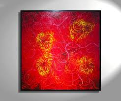 huge red abstract painting textured