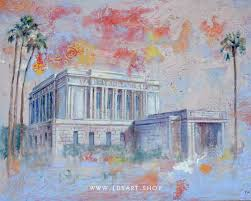 mesa temple fine art cold wax painting