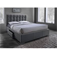 king platform bed with storage drawers. Baxton Studio Sarter Contemporary Grid-Tufted Grey Fabric Upholstered Storage Bed With 2-drawer King Platform Drawers