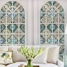dktie window cling stained glass window decorative window vinyl non adhesive privacy bathroom shower door heat cotrol anti uv 17 7in by