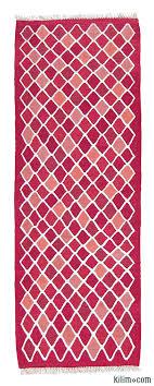 red pink new turkish kilim runner rug