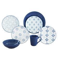 Patterned Dinnerware Custom Baum Aura Blue Kaleidescope Patterned 48Piece Dinnerware Set