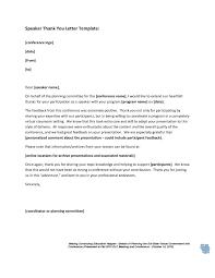 Program Coordinator Thank You Letter
