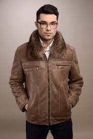taupe mens fur coat manufactured from natural lamb fur and natural rac fur