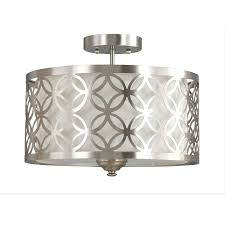 allen roth earling 15 in w brushed nickel fabric semi flush mount light