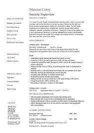 Supervisor Resume Objective Security Manager Resume Template