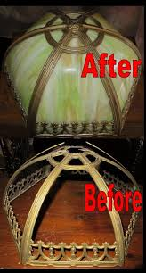 frame and glass work repair before and after slag lamp shade with broken frame