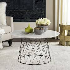 safavieh roe white black round coffee table