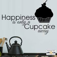 Happiness Quote Inspiration Happiness Cupcake Cook Food Kitchen Quote Wall Art Stickers Decals