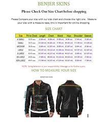 Leather Jacket Size Chart Benjer Skins Mens Lambskin Leather Bomber Motorcycle Jacket