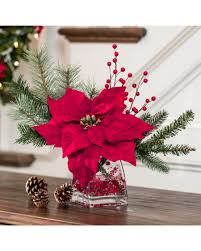silk poinsettia accent red